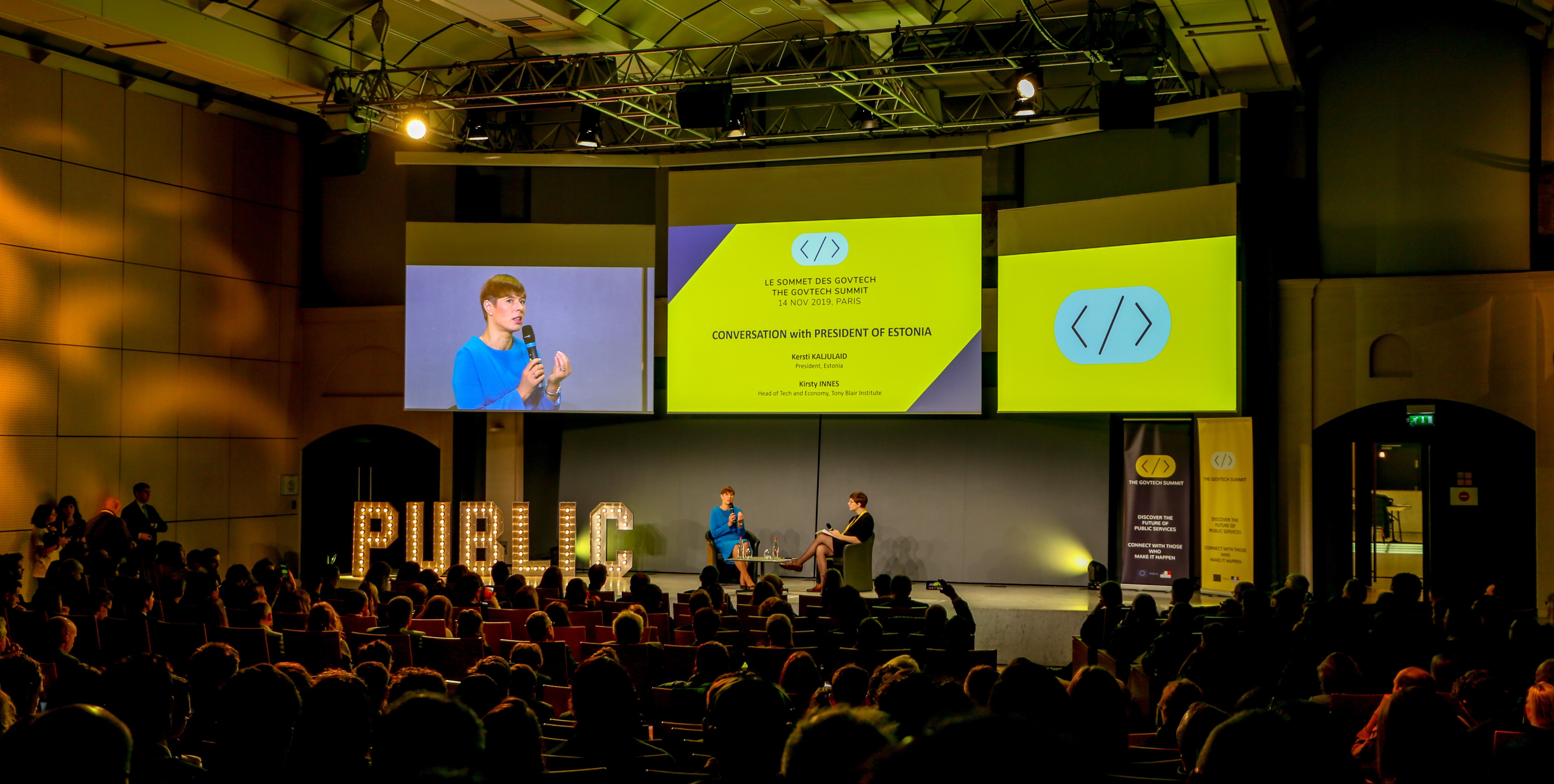 Kersti Kaljulaid, Présidente de la République d'Estonie, intervenait au GovTech Summit le 14 novembre 2019 à Paris.